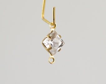Clear Square Glass Stones in 2 Loop Brass Setting 6mm squ001P2