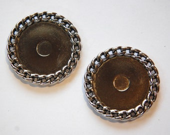 Vintage Silver Plated Plastic Round Settings Chain Link Border stp006