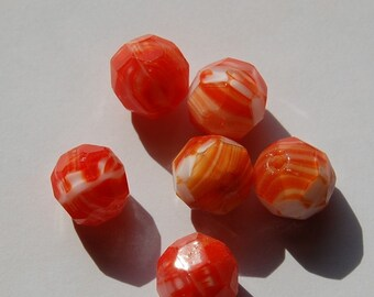 Vintage Orange and White Faceted Beads Germany  grm035