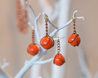 Vintage Orange Acrylic Copper Wrapped Bead Drops with Chain Japan chr146
