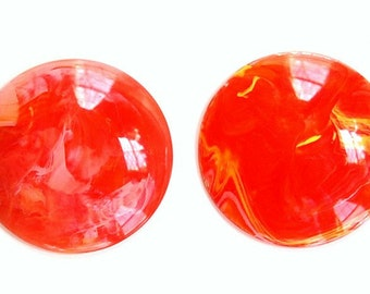 Clear with Yellow and Orange Swirled Vintage Cabochons 30mm (4) cab801C