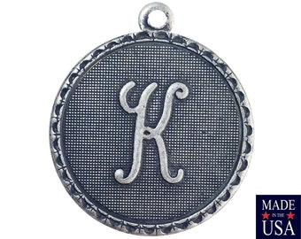 Sterling Silver Ox Plated Letter K Initial Charm Drop with Loop (1) chr214K
