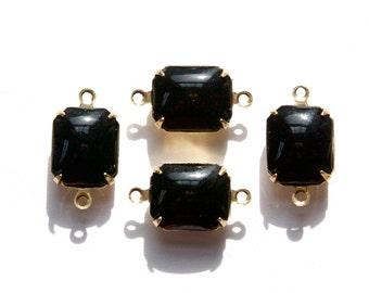 Vintage Black Glass Octagon Set Stones in 2 Loop Brass Setting 12x10mm (2) oct005Q2