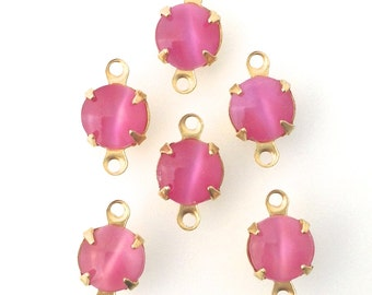 Pink Moonglow Glass Stone 2 Loop Brass Setting Drops 7mm (6) rnd001Y2