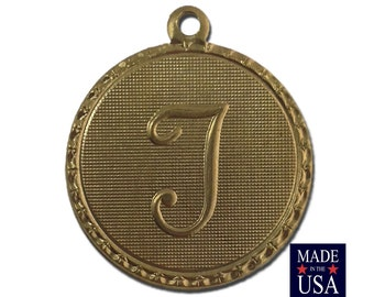 Raw Brass Letter T Initial Charm Drop with Loop (1) chr190T