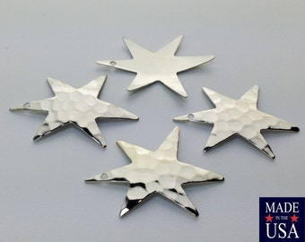 1 Hole Hammered Silver Plated Star Pendant Drops (4) mtl411B
