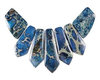 Dakota Stones Blue Impression Jasper Pendant Gemstones. 7 Pc Set. BIM-PT-PEN-7