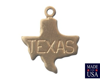 Raw Brass Tiny Texas State Charm Drops (2) chr202A