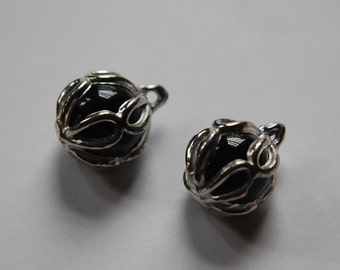 Rare Vintage Black Glass with Silver Tone Frame Drop Charm chr154A