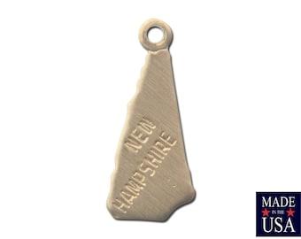 Raw Brass Tiny New Hampshire State Charm Drops 15x6mm (2) chr202MM