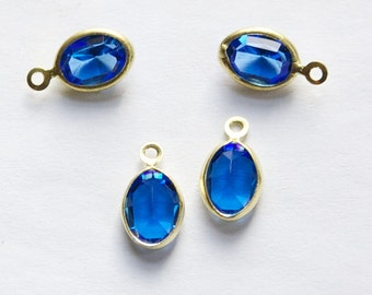 1 Loop Faceted Sapphire Swarovski Glass Channel Set Charms Drops cha005M