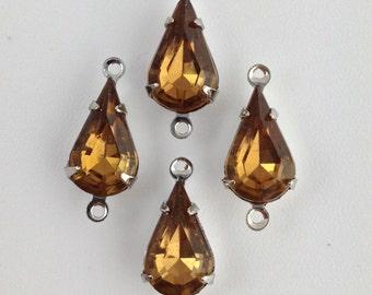 Vintage Smokey Topaz Glass Teardrop Stone 2 Loop Silver Setting 13x8 (4) par007AN2