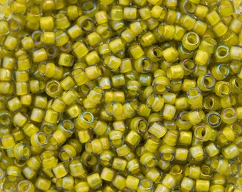 "Inside Color Luster Black Diamond / Opaque Yellow Lined Toho Seed Bead (8g) 15/0 2.5"" Tube TR-15-246/C"
