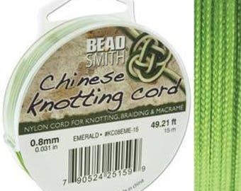 Emerald Chinese Knotting Cord (.8mm/.031in) 15m/16.4yds
