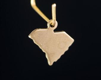 Raw Brass Tiny South Carolina Blank State Charm Drops (6) chr228V