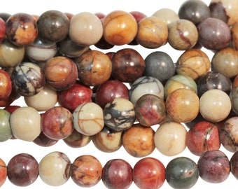 "Dakota Stones Red Creek Jasper 4mm Round Gemstones. 8"" Strand. RCJ4RD-8"