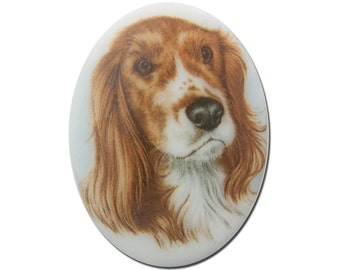 Vintage Glass Springer Dog Cameo Cabochon 40x30mm (1) cab386D