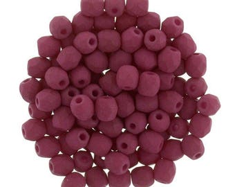 Czech Faceted Color Trends Saturated Fuschia Fire Polish Glass Beads 3mm (50)