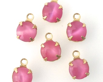 Pink Moonglow Glass Stone 1 Loop Brass Setting Drops 7mm (6) rnd001Y