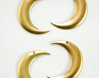 1 Hole Raw Brass Crescent BOTH Left and Right Pendant Hoops (4) mtl110C