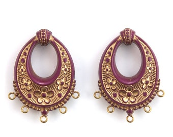 Vintage Burgundy Wine with Gold Floral Chandelier Pendants Earrings 40x30mm (2) pnd065B