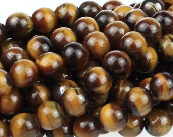 "Dakota Stones Tiger Eye 8mm Round Gemstones. 8"" Strand. TGE8RD-8"