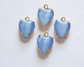 Vintage Light Blue Moonglow Glass Heart Pendants in 1 Loop Brass Setting 10mm hrt008E