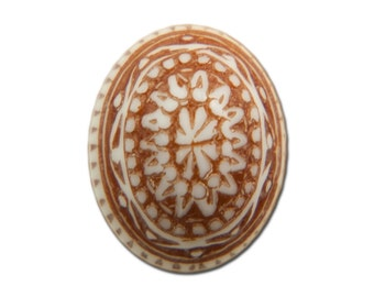 Vintage Mosaic Brown and White Cabochons 10x8mm (8) cab714Y