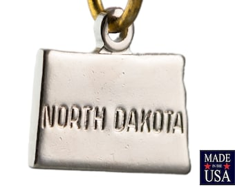 Shiny Silver Tiny North Dakota State Charm Drops 11x9mm (2) chr225ZZ