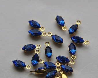 Sapphire Blue Navette Stones in 1 Loop Brass Setting 8mmx4mm (8) nav005A