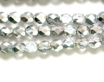 Czech Half Crystal Half Silver Faceted Glass Beads 6mm (25) czh024D