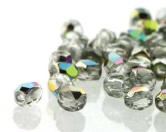 True 2 Czech Crystal Vitrail Faceted Fire Polished Glass Beads 2mm (200+/-)