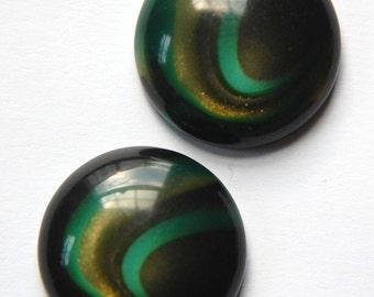 Vintage Black Gold Teal Green Swirl Lucite Cabochon 25mm cab763C