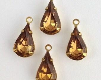 Vintage Smokey Topaz Glass Teardrop Stone 1 Loop Brass Setting par003AN