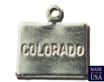 Shiny Silver Tiny Colorado State Charm Drops (2) chr225Z