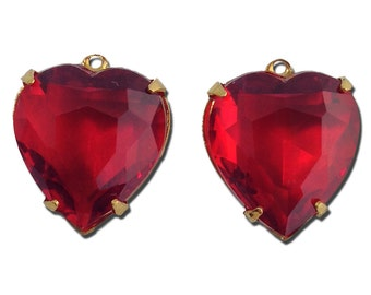 Ruby Glass Heart Pendants in 1 Loop Gold Plated Setting 15mm hrt003A