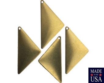 1 Hole Raw Brass Triangle Pendant Findings 25x12 (8) mtl447A