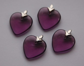 Amethyst Glass Hearts with Silver Tone Bails (4) hrt004