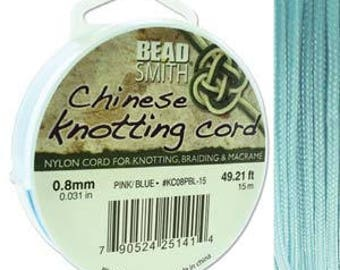 Powder Blue Chinese Knotting Cord (.8mm/.031in) 15m/16.4yds