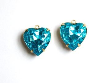 Vintage Aqua Glass Heart Pendants 1 Loop Brass Setting 15mm hrt010B