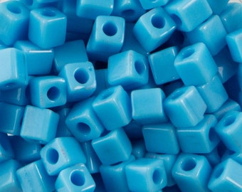 Opaque Light Blue Miyuki Cube Seed Bead 4mm 20gm Tube SB4-413-TB
