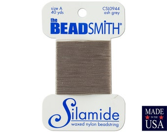 Ash Grey Silamide Waxed Nylon Beadstring Size A (40 Yards) CSL0944