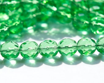 Czech Faceted Peridot Green Fire Polish Glass Beads 8mm (20) czh008A