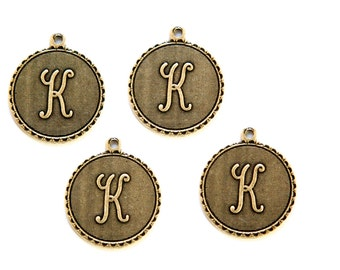 Brass Ox Letter K Initial Charm Drop with Loop (4) chr194K