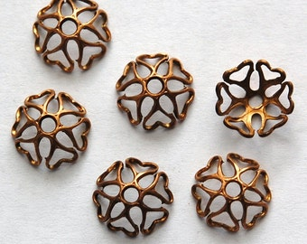 Lacy Raw Brass Heart Design Bead Caps 10mm (6) mtl058