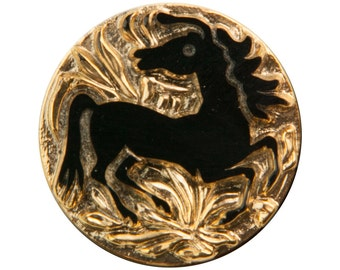 Black Horse on Gold Etched Czech Glass Cabochon 32mm (1) cab480B