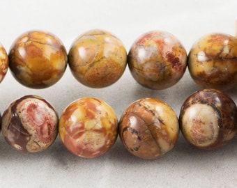 """Dakota Stones Birdseye Rhyolite 12mm Round Gemstones. 8"""" Strand. BER12RD-8"""
