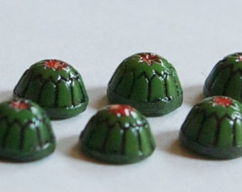 Vintage Green with Black and Red Glass Mosaic Cabochons 7mm cab067D