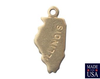 Raw Brass Tiny Illinois State Charm Drops (6) chr201G