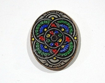 Vintage Colorful Etched Mosaic Glass Cabochon Germany 25x20mm cab183